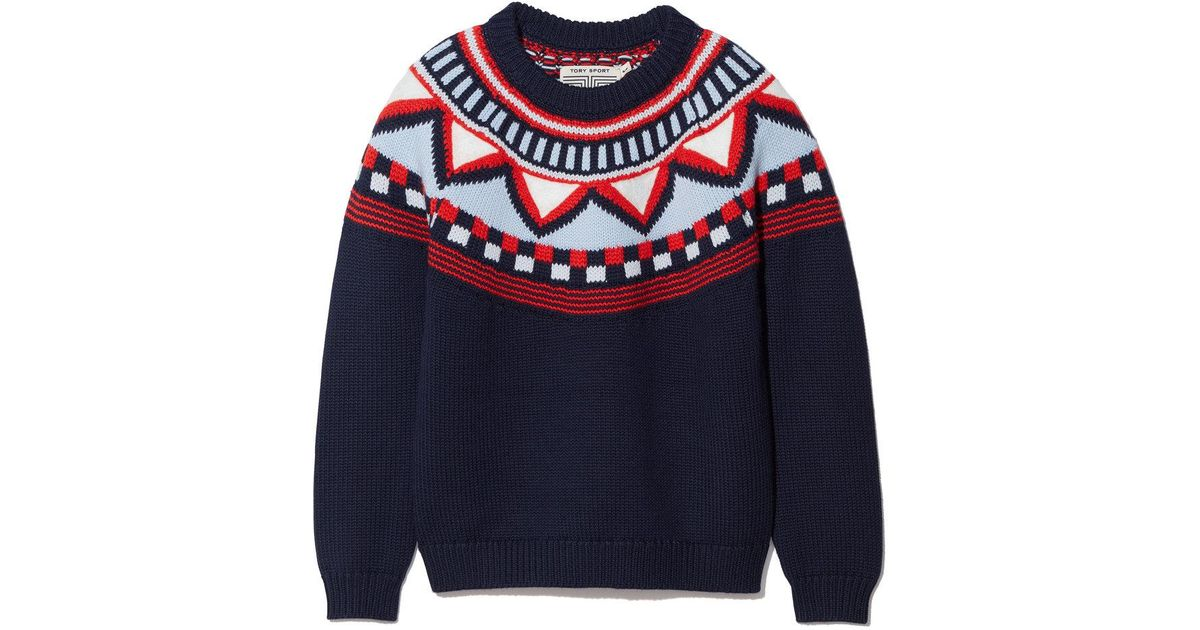 Tory burch Performance Merino Fair Isle Sweater in Blue | Lyst