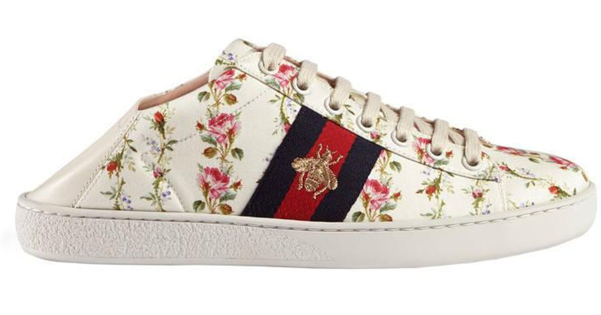 Gucci Ace Rose Print Low-top Sneaker in Pink - Lyst