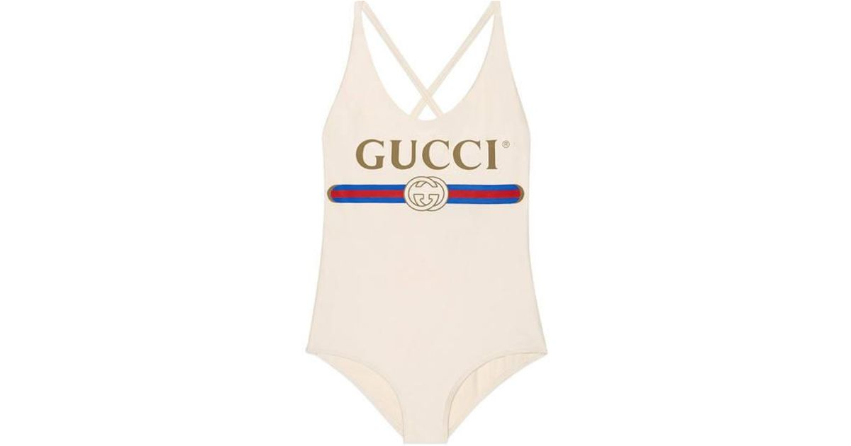 4798c9ac551 Gucci Sparkling Swimsuit With Logo in White - Lyst