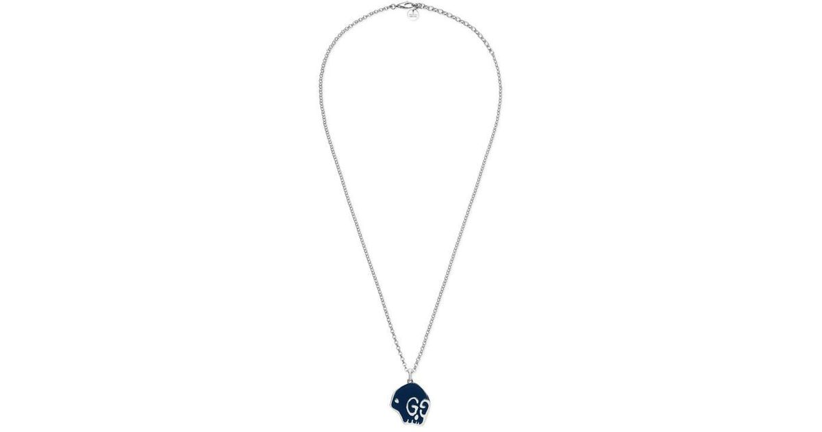 8a731feba Lyst - Gucci Ghost Necklace In Silver in Metallic for Men