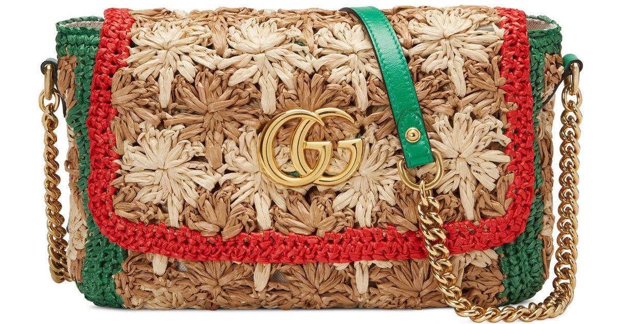 f17b6f6aea58 Gucci GG Marmont Raffia Small Shoulder Bag - Lyst