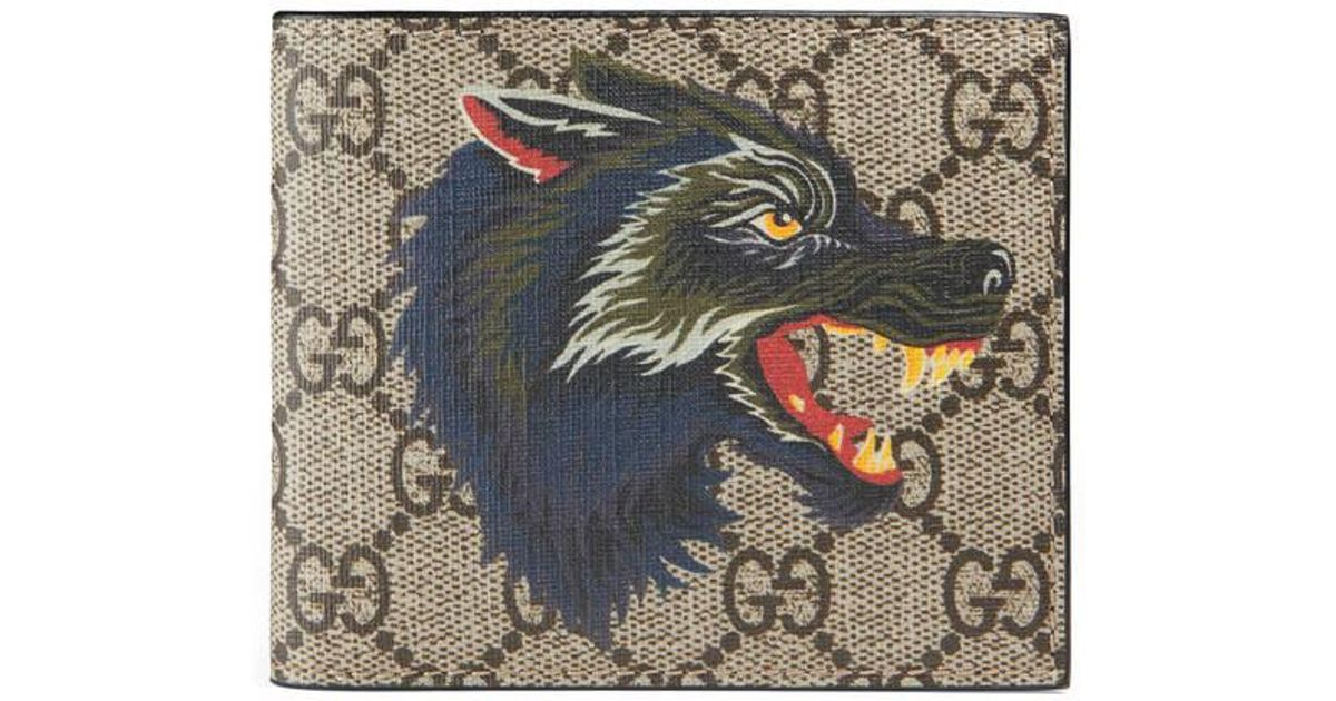 lyst gucci wolf print gg supreme wallet for men