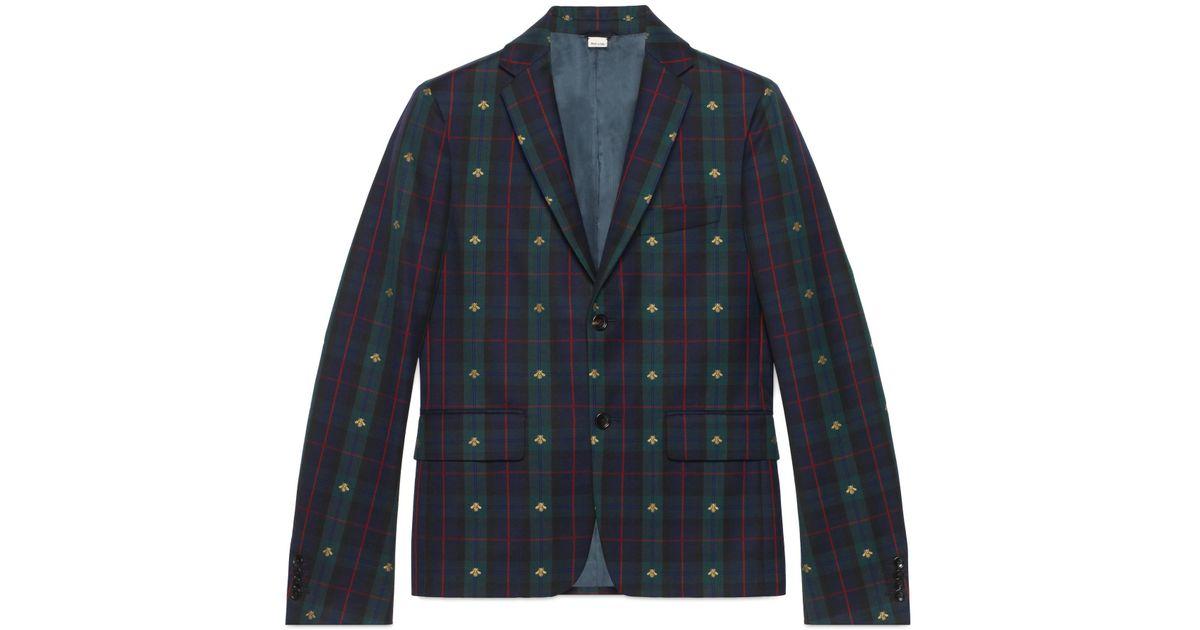 9ec97743b Gucci Check Bees Fabric Jacket in Blue for Men - Lyst