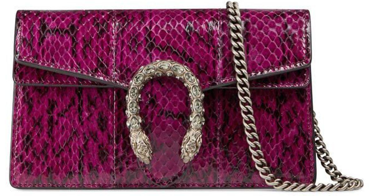 9f7caaf4a88952 Gucci Dionysus Snakeskin Super Mini Bag in Purple - Lyst