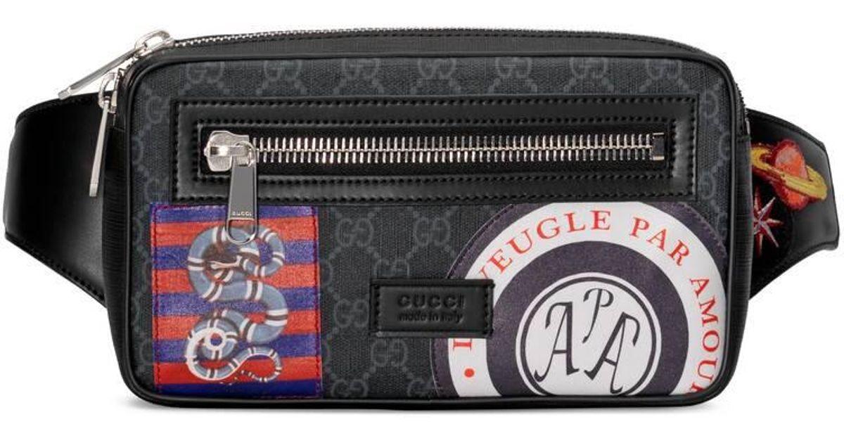 b0b8602a3 Gucci Night Courrier Soft GG Supreme Belt Bag in Black for Men - Lyst
