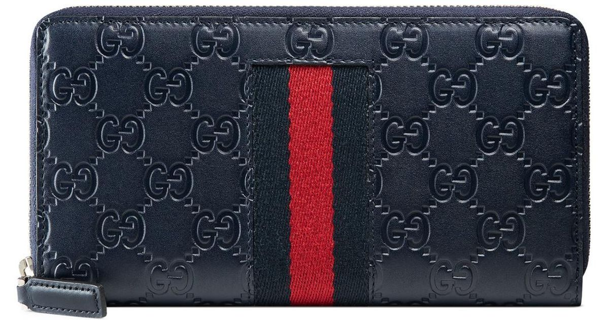 ab06fd1cca8c Lyst - Gucci Signature Web Zip Around Wallet in Blue for Men - Save 4%