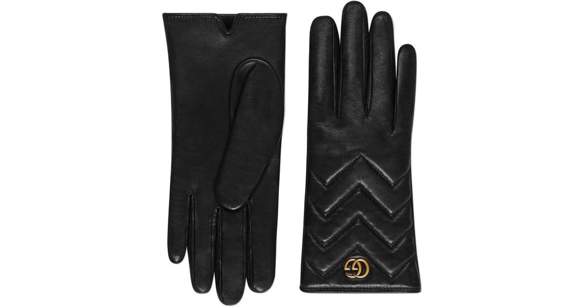 bbb394a67e0fb Gucci GG Marmont Chevron Leather Gloves in Black - Save 18% - Lyst