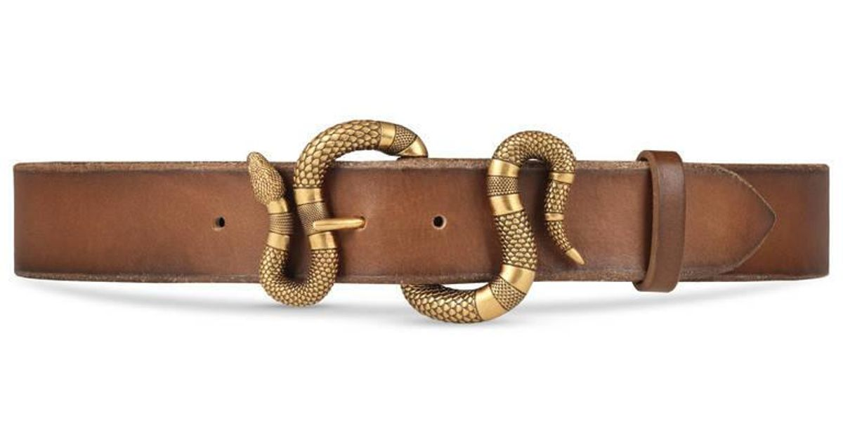 fde9968e441 Lyst - Gucci Leather Belt With Snake Buckle in Brown for Men