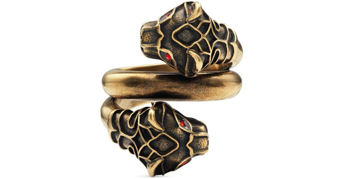 5d3718563 Gucci Tiger Head Ring in Metallic for Men - Save 6% - Lyst