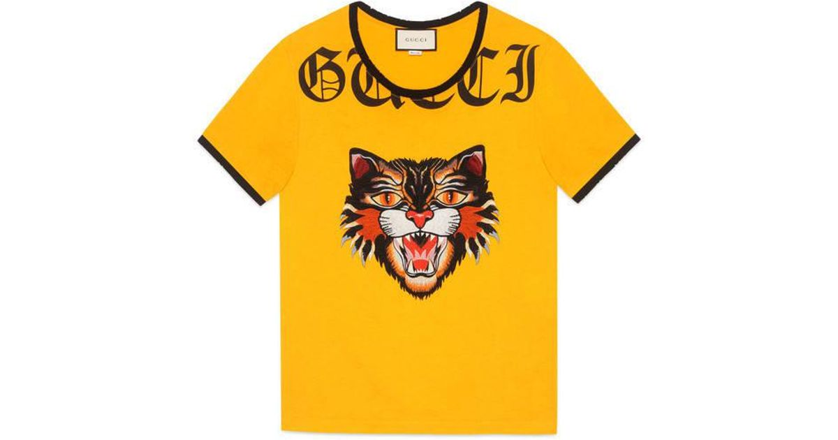 b843343ef8c Lyst - Gucci Cotton T-shirt With Cat Appliqué in Yellow