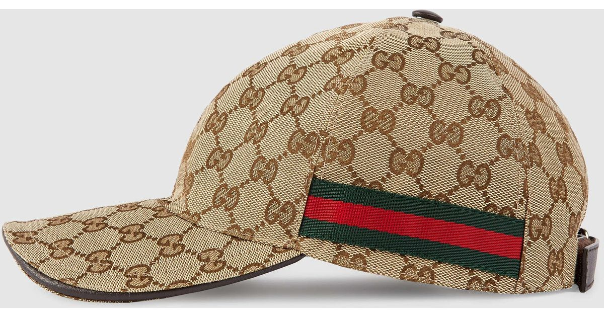 Lyst - Gucci Original Gg Canvas Baseball Hat With Web in Natural for Men 861923831c5