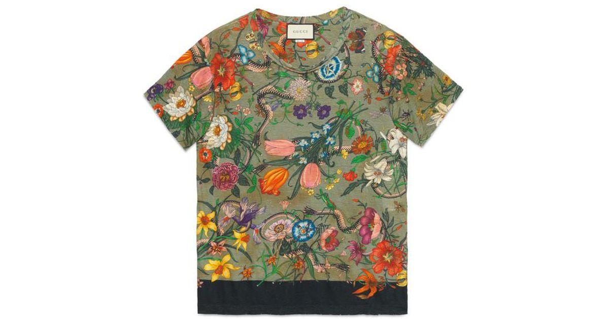 75c22f0e Gucci Flora Snake Print Linen T-shirt in Green - Lyst