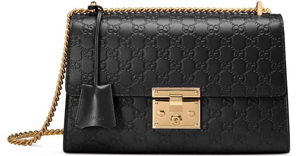 10a03c3c603 Lyst - Sac à épaule Padlock Signature taille moyenne Gucci en coloris Noir