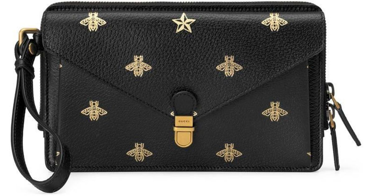 13d55cf6f6e3 Gucci Bee Star Leather Men's Bag in Black - Lyst