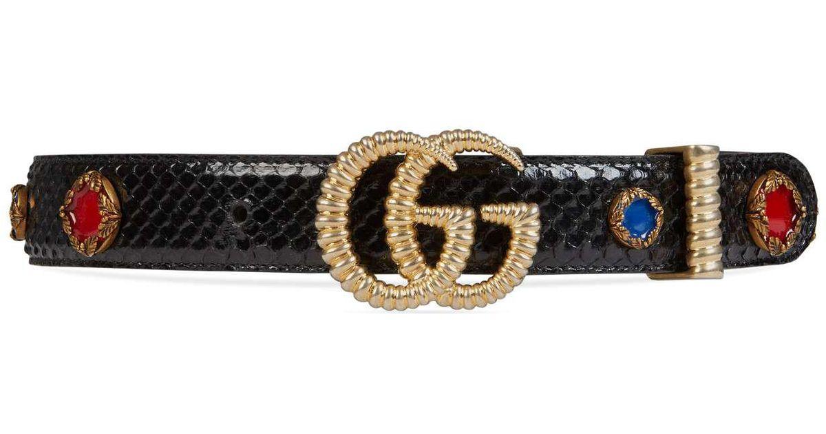 a675e7d442d Lyst - Gucci Python Belt With Torchon Double G Buckle
