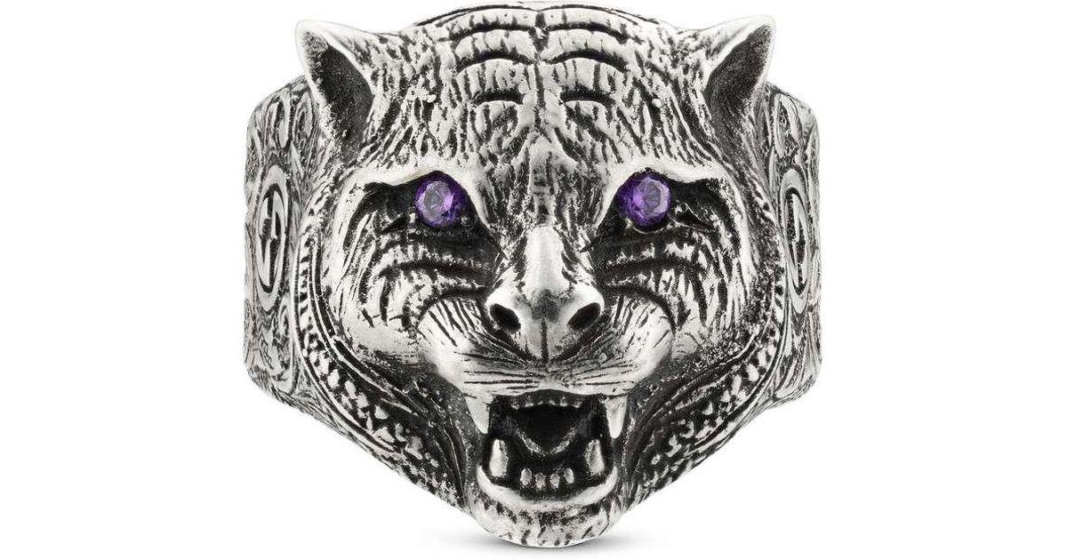 be14421e6 Gucci Garden Feline Head Ring in Metallic for Men - Lyst