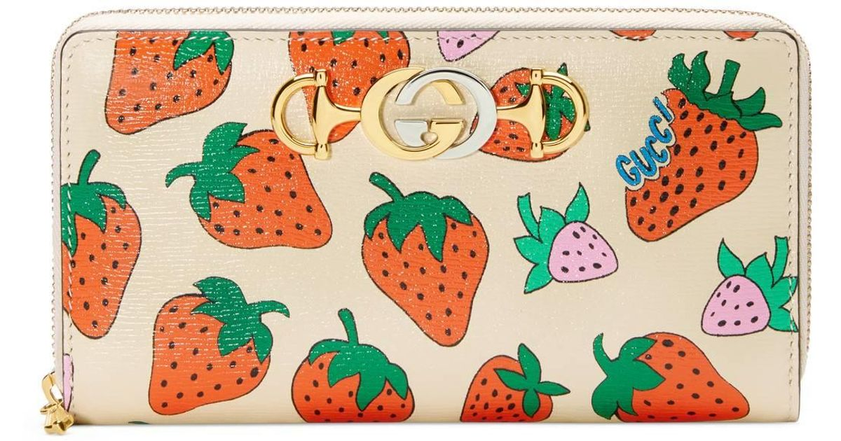 0f5801164df Lyst - Gucci Zumi Strawberry Print Zip Around Wallet in White