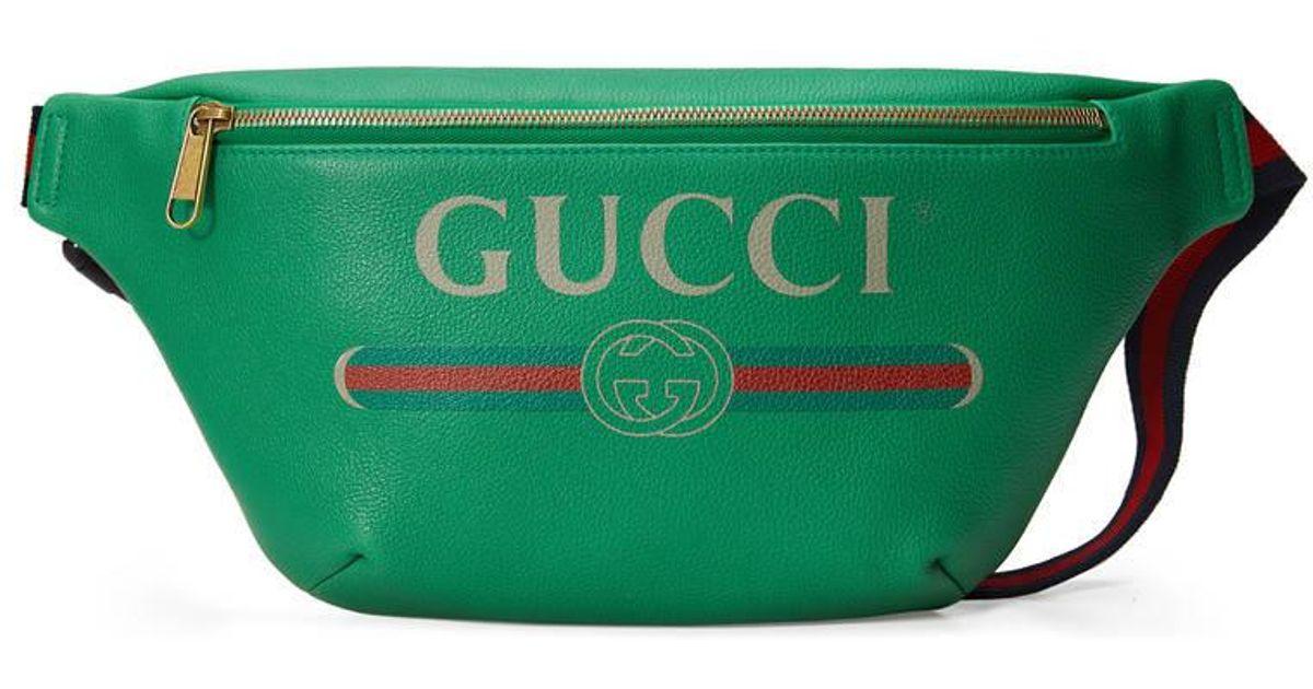 fa8fe63a532b Gucci Logo Leather Belt Bag in Green - Lyst
