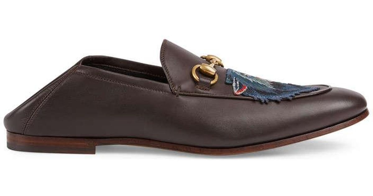 07176fe7aa9 Lyst - Gucci Leather Loafer With Wolf in Brown