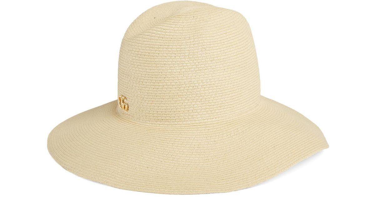 21dfb703e76c7 Lyst - Gucci Papier Wide Brim Hat in Natural