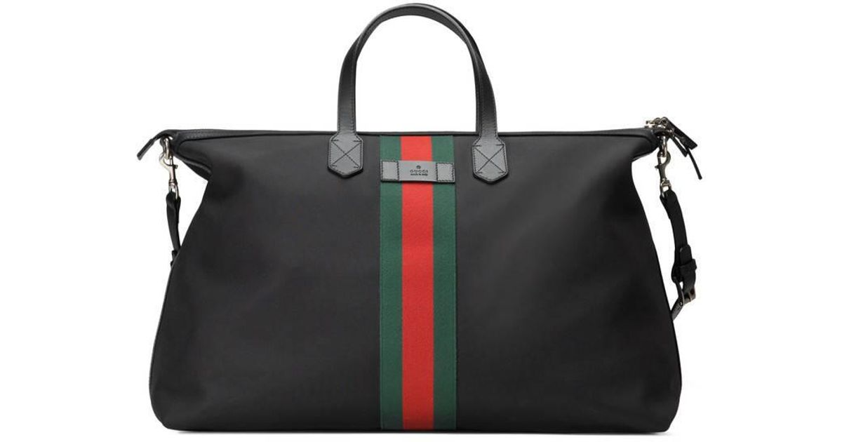 Lyst - Gucci Web Techno Canvas Carry-on Duffle in Black for Men 2169b59d39bd8