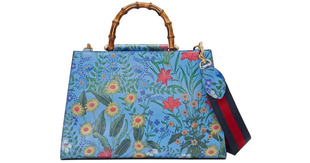 04c0b6ecc Gucci Nymphaea New Flora Leather Top Handle Bag in Blue - Lyst