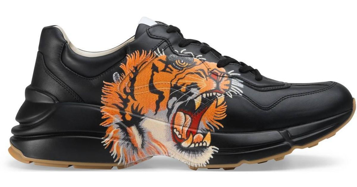 e058f0cab53cba Lyst - Gucci Rhyton Leather Sneaker With Tiger in Black for Men
