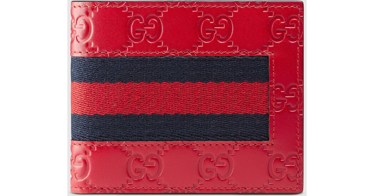 1bb67efae23233 Gucci Signature Web Wallet in Red for Men - Lyst