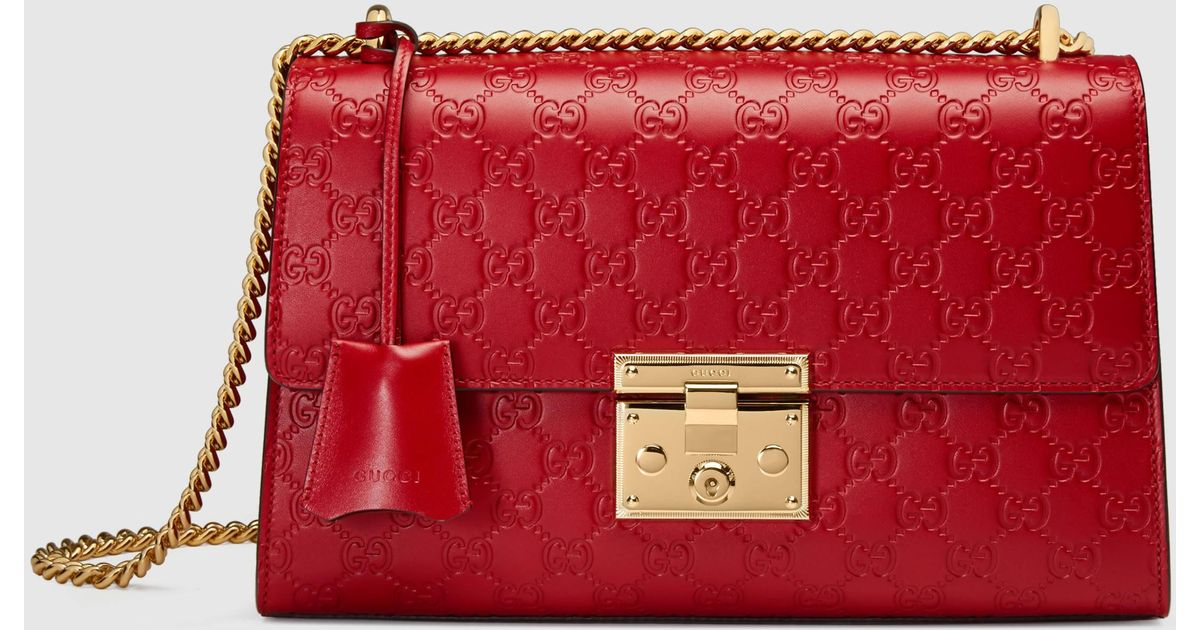 fef7ec1a19669 Lyst - Gucci Padlock Signature Shoulder Bag in Red