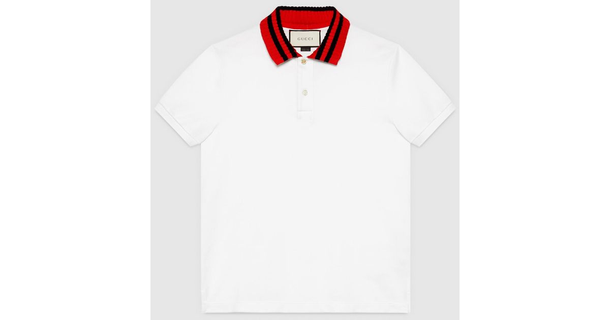 a38ffb897 Gucci Cotton Polo With Web Collar in White for Men - Lyst