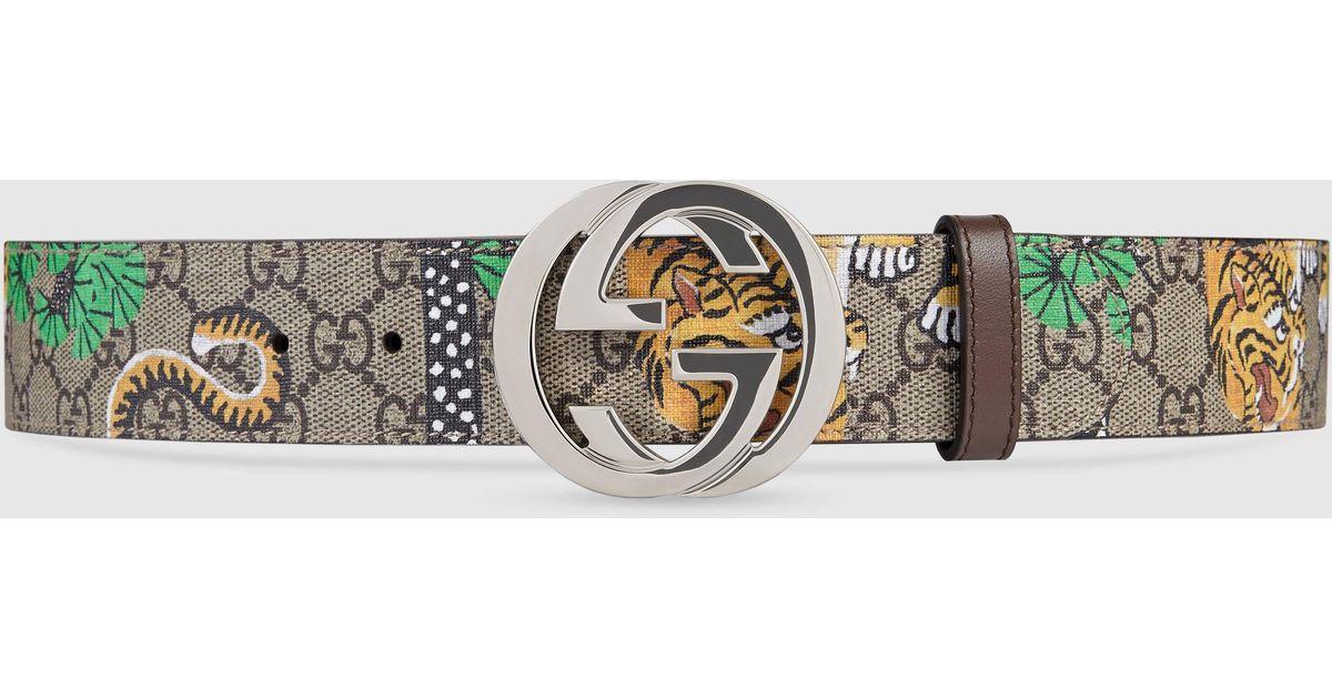 cccd23b299e Lyst - Gucci Bengal Gg Supreme Belt in Metallic for Men