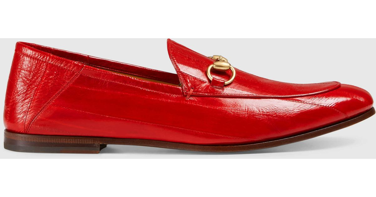 0925131250a Lyst - Gucci Eel Loafer in Red for Men