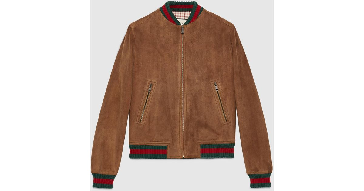 Lyst - Gucci Suede Jacket With Web in Brown for Men 7dc9dd43447e