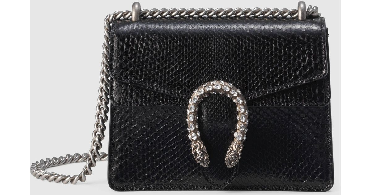 e447b2362eb Lyst - Gucci Dionysus Python Mini Bag in Black