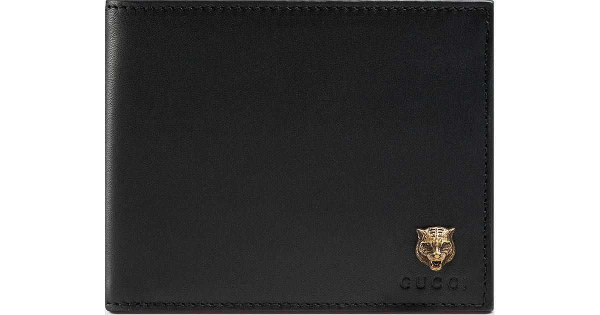 097bf63fcbf7 Gucci Animalier Leather Wallet in Black for Men - Lyst