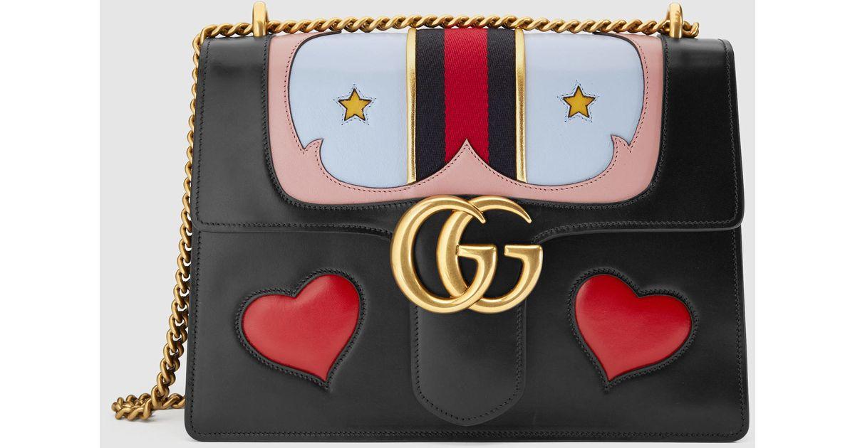 e097009f336c62 Gucci Gg Marmont Medium Web Heart Shoulder Bag in Black - Lyst