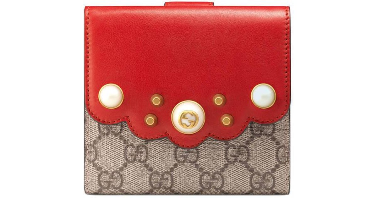 9d044f4295bd Lyst - Gucci Gg Supreme French Flap Wallet in Red