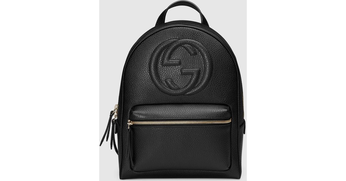 38e00d176bc Lyst - Gucci Soho Leather Chain Backpack in Black