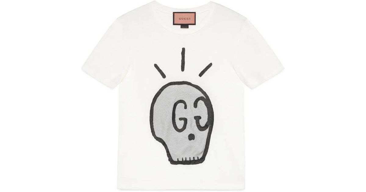 2c1bac35 Gucci Ghost T-shirt in White for Men - Lyst