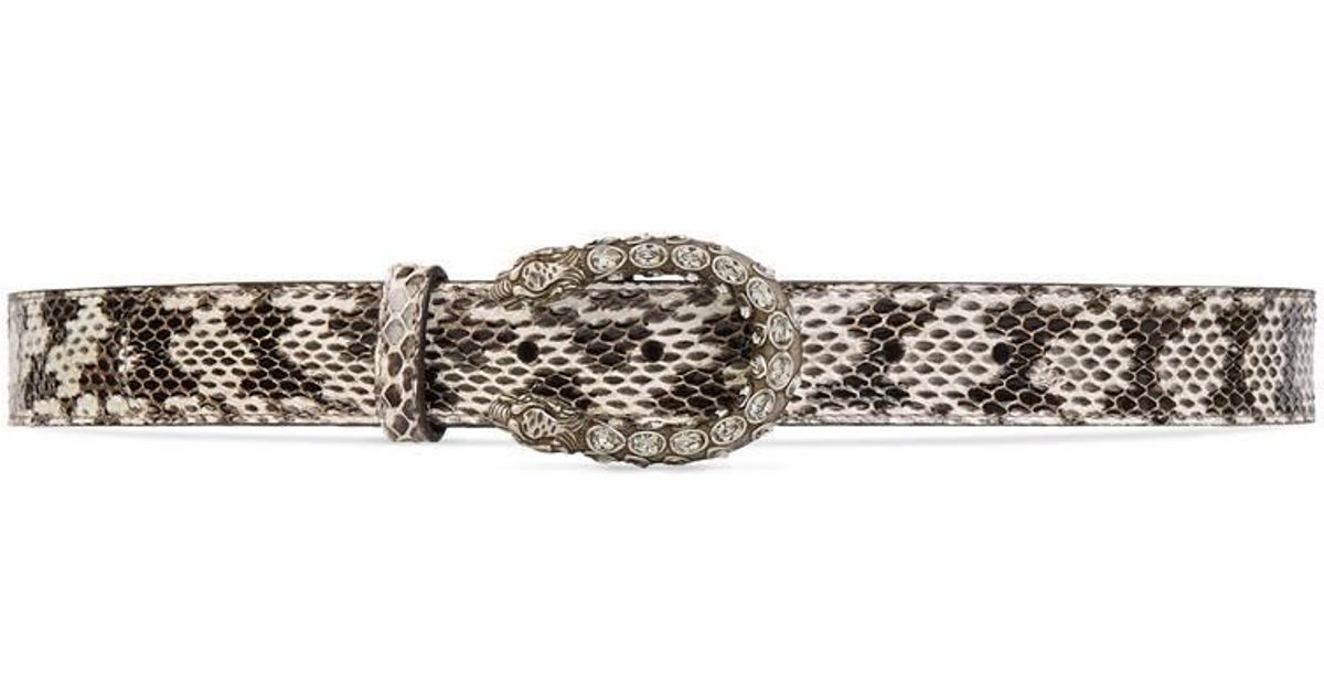 46e896f48 Lyst - Gucci Snakeskin Belt With Crystal Dionysus Buckle