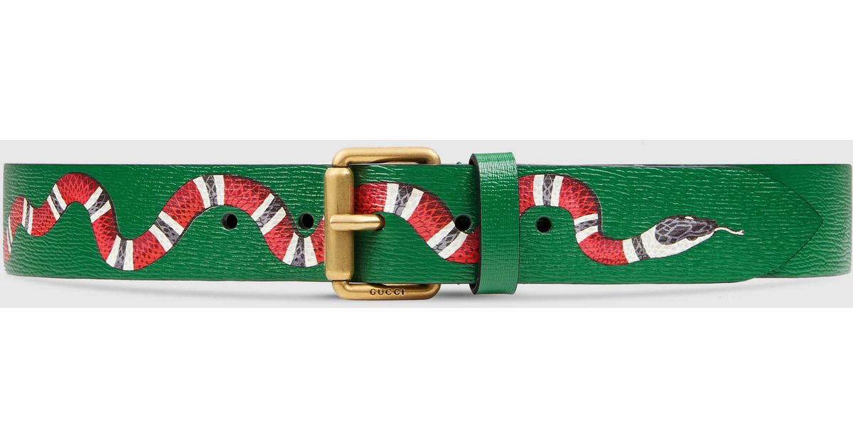 Gucci Leather Belt With Snake In Red For Men Lyst