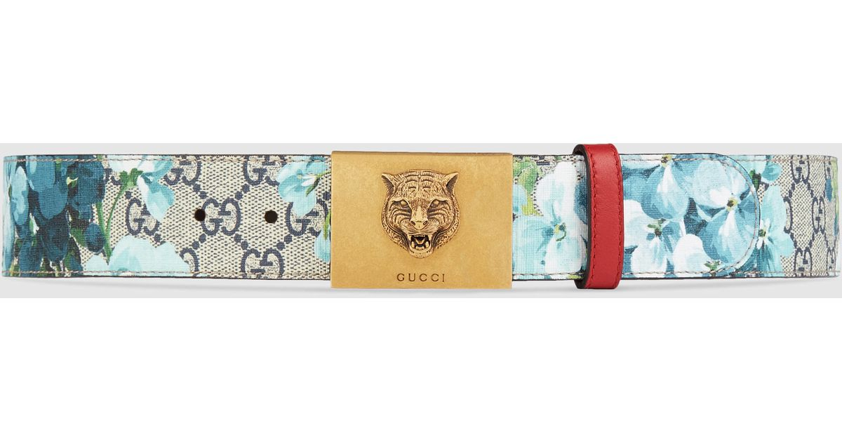 d5aafadb082 Lyst - Gucci Gg Blooms Belt With Plaque Buckle in Blue for Men