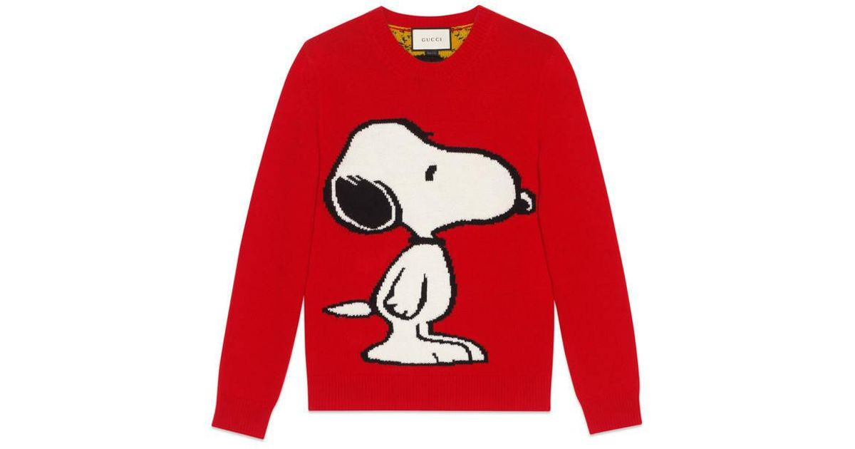 d6846e25d66 Lyst - Gucci Snoopy Tiger Stripe Sweater in Red for Men