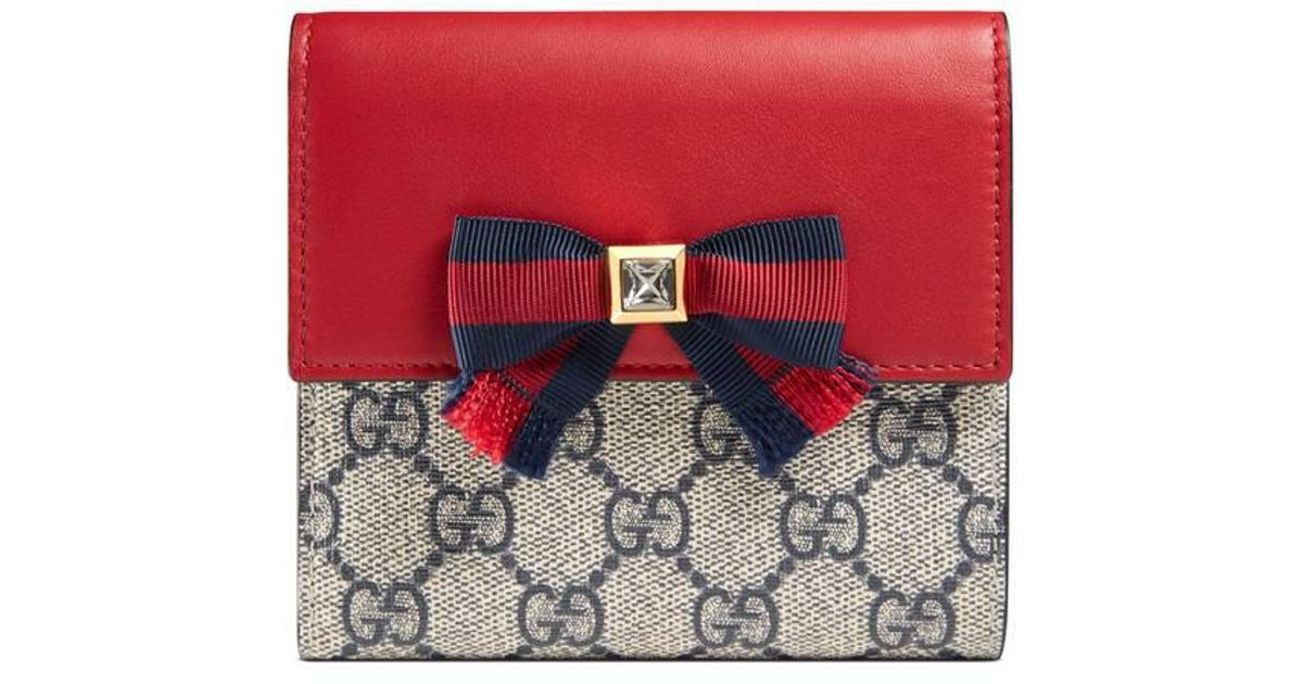 946ad9bbf59d Gucci Grosgrain Gg Supreme French Flap Wallet in Red - Lyst