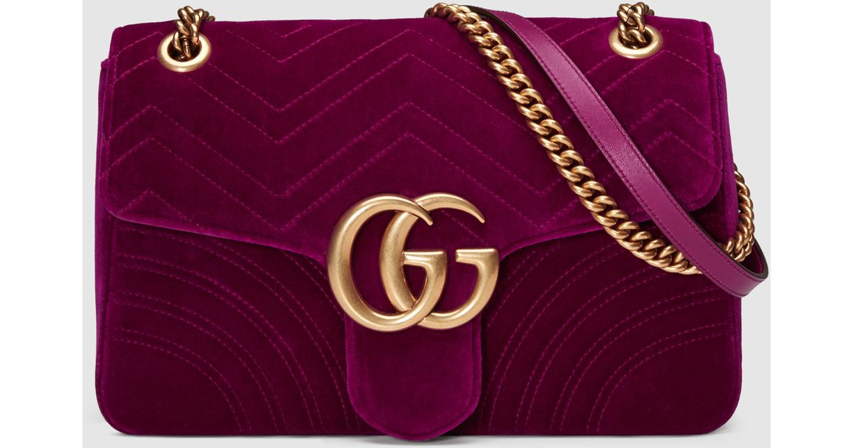 d987f1cee54d Gucci GG Marmont Velvet Shoulder Bag in Purple - Save 30% - Lyst