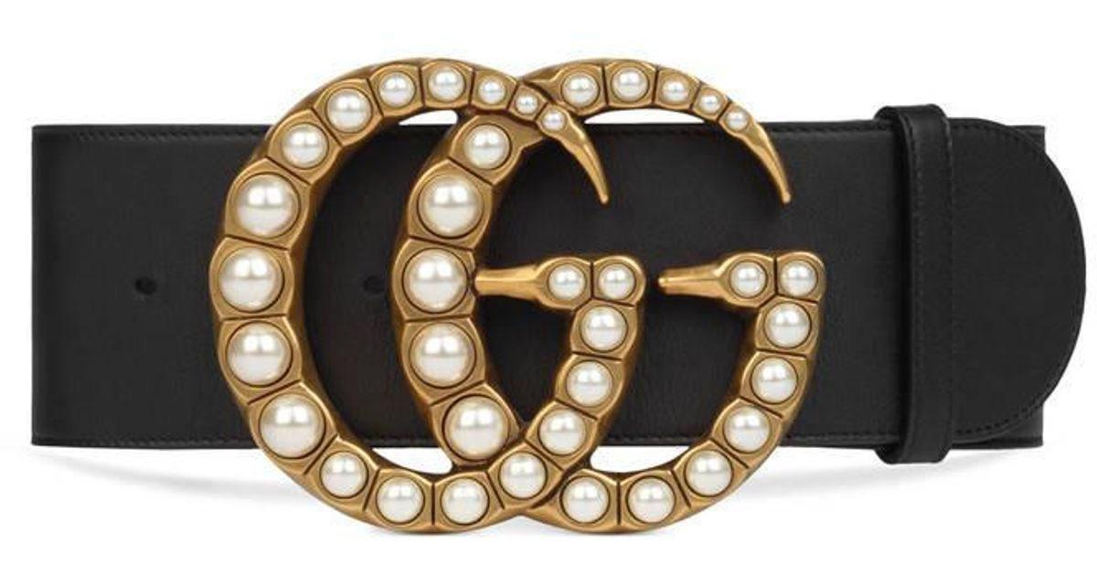 Lyst Gucci Wide Leather Belt With Pearl Double G In