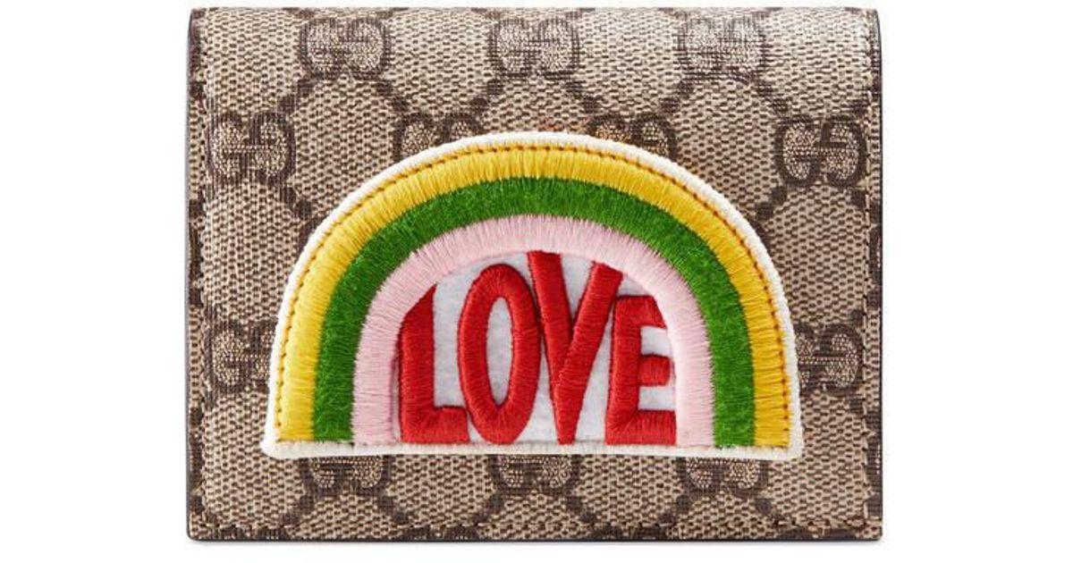 3d601022c11 Lyst - Gucci Rainbow Soft Gg Supreme Card Case