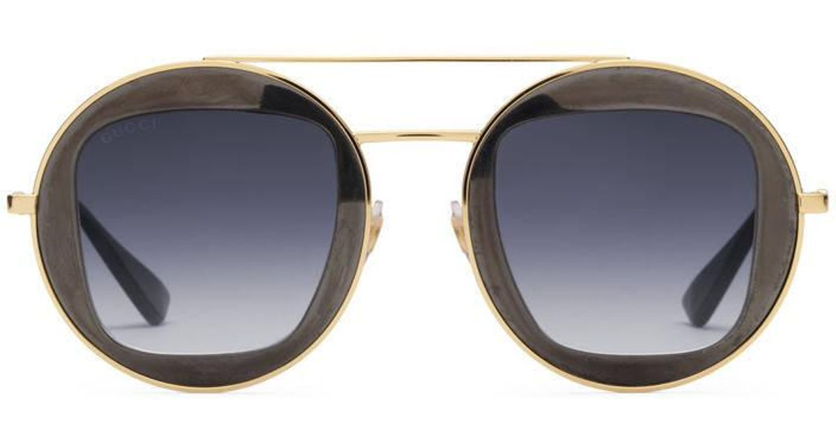 Gucci Metal Frame Glasses : Gucci Round-frame Metal Sunglasses Lyst