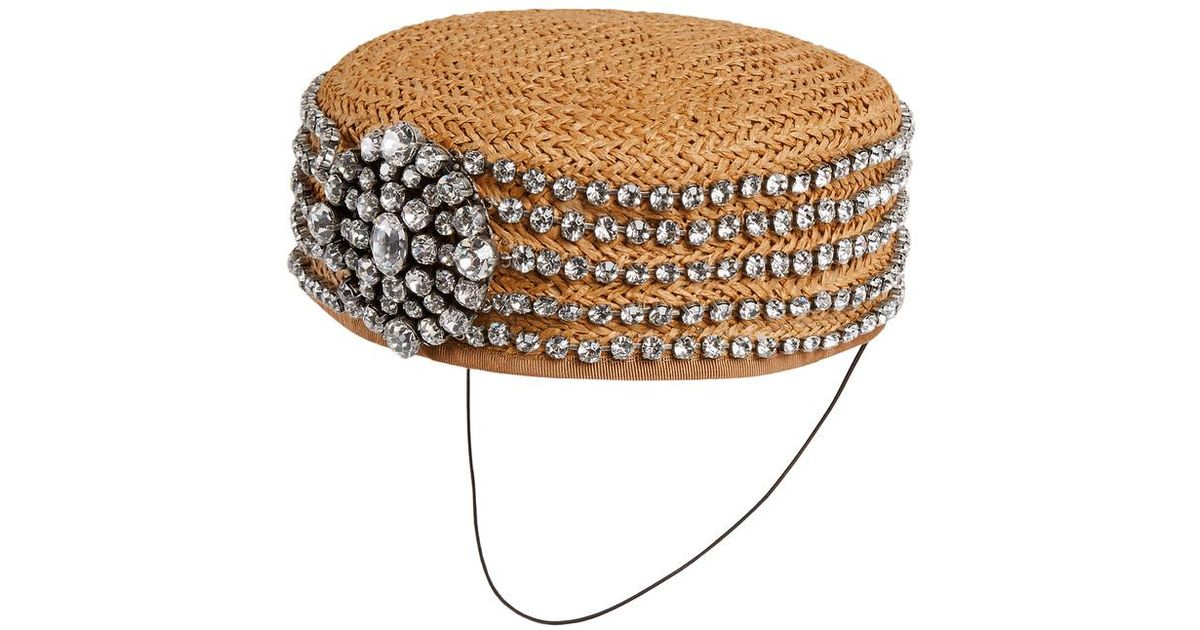 fcf320d5de035 Lyst - Gucci Papier Hat With Crystals in White