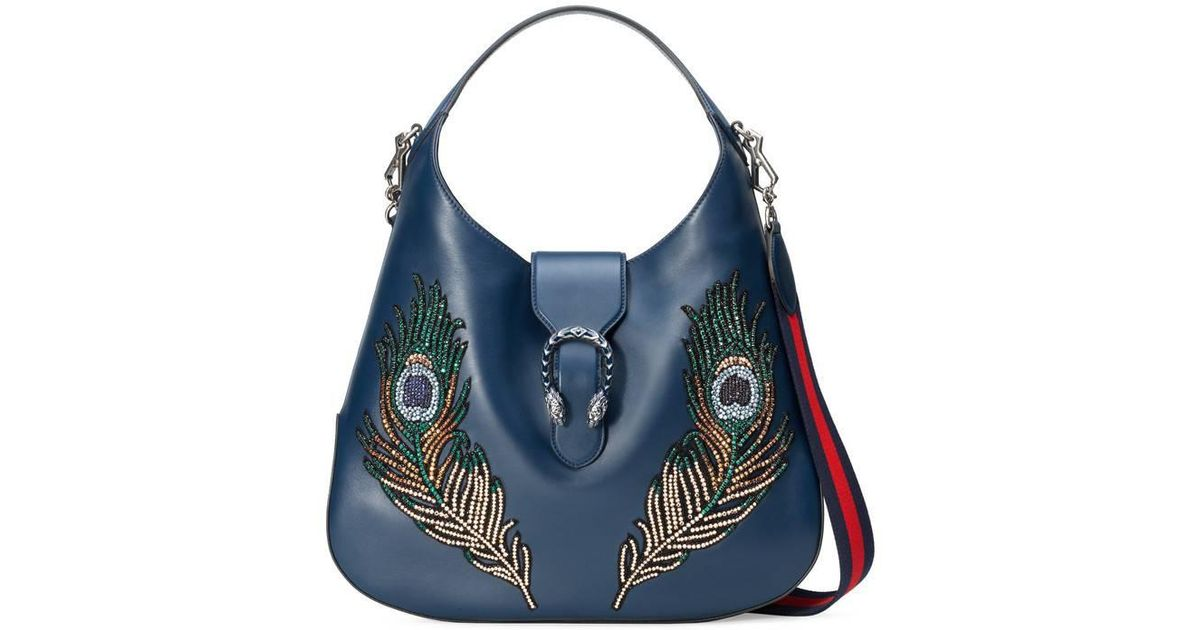 8dbed27b1 Gucci Dionysus Embroidered Large Leather Hobo in Blue - Lyst